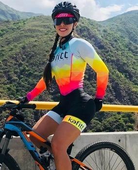 2020 pro equipe triathlon terno feminino ciclismo manga longa camisa skinsuit macacão maillot ciclismo ropa ciclismo conjunto gel 1