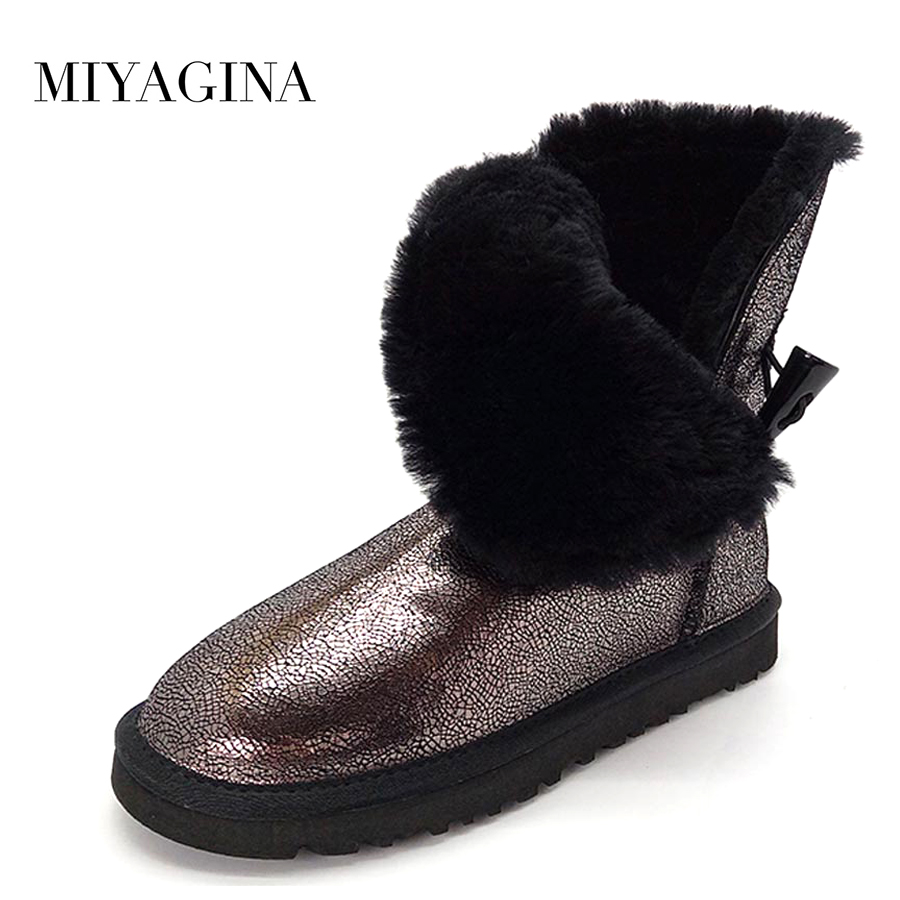 MIYAGINA Genuine Leather Snow Boots Winter Shoes for Women