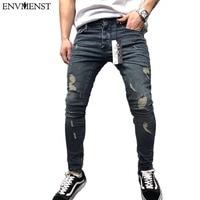 Envmenst 2018 Fashion Men Slim Zipper Denim Trousers Men Casual Cotton Hole Solid Color Designer Jeans Ankle Elastic
