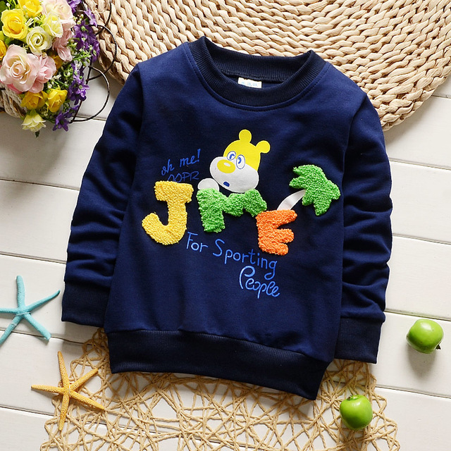Розничная продажа; сезон весна-осень футболка Дети Обувь для девочек Одежда для мальчиков хлопок спортивный костюм с принтом из мультфильма детская одежда футболка с длинными рукавами