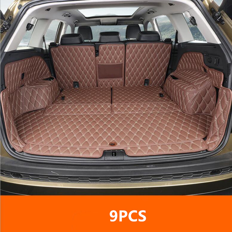 9PCS Car Styling Cargo Liner Car Trunk Mat Carpet Interior Floor Mats Leather Pad Fit For Skoda Kodiaq 2017 Auto Accessories