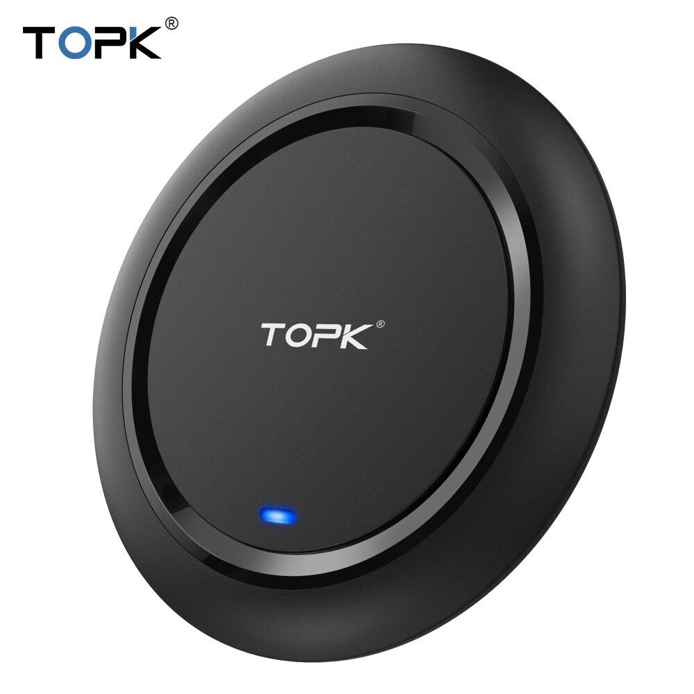 TOPK 10 watt Qi Drahtlose Ladegerät Für iPhone X/8 Plus Schnelle Wireless Charging Pad Für Samsung Galaxy S9 plus Hinweis 9 S7 Rand