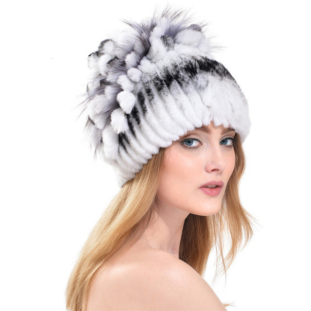 Winter 2016 Rex Rabbit Fur Hat With Silver Fox Fur Flowers Top Knitted Beanies Fashion Women Causal Real Fur Warm Cap LH325