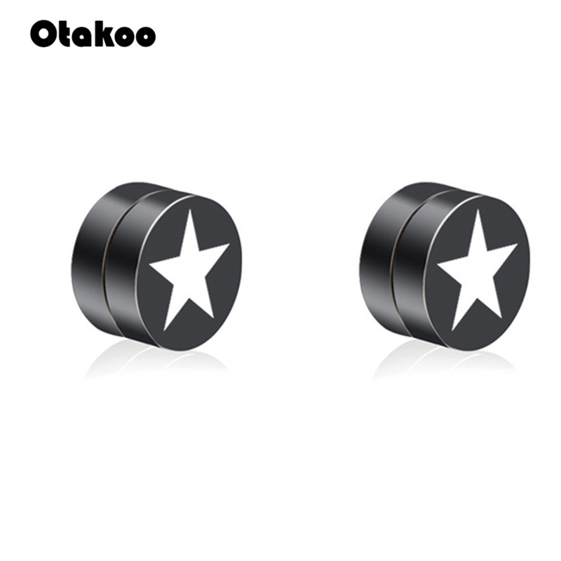 Otakoo Magic Strong Magnet Earrings Ear Men Fashion No Hole Boyfriend Ear Stud Jewelry Earring Painless Punk Accessories