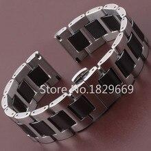Nueva alta calidad del reloj banda correa de cerámica negro reloj de diamantes en General 16 mm 18 mm 20 mm tamaño disponible wrap de acero de cerámica