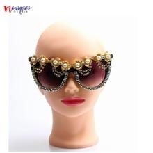 Элитный бренд солнцезащитные очки женские со стразами украшения кошачий глаз солнцезащитные очки Óculos де золь золотой цветок vintage оттенков