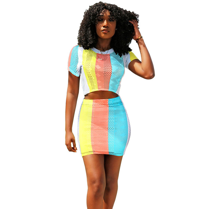 iHeartRaves Two-Piece Crop Top /& Skirt Set Outfit