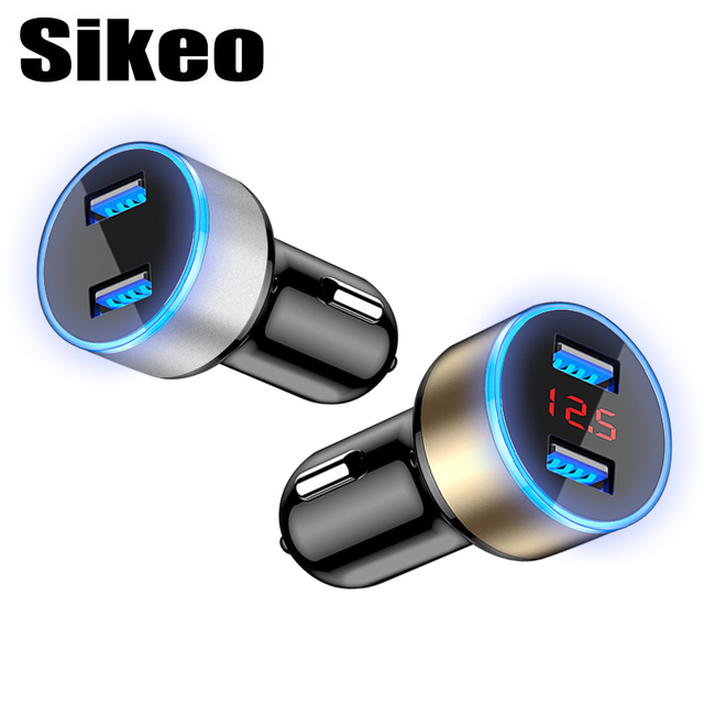 Car Charger 5V 3.1A with LED Display Universal Dual USB Phone Car Adaptor Fast Charger for Samsung iPhone Huawei tablet etc.