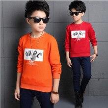 Корейской Зимой мальчик футболка шерстяные письмо моды джокер дети с длинным рукавом базовый рубашка тепло и комфорт мягкий подросток тройники
