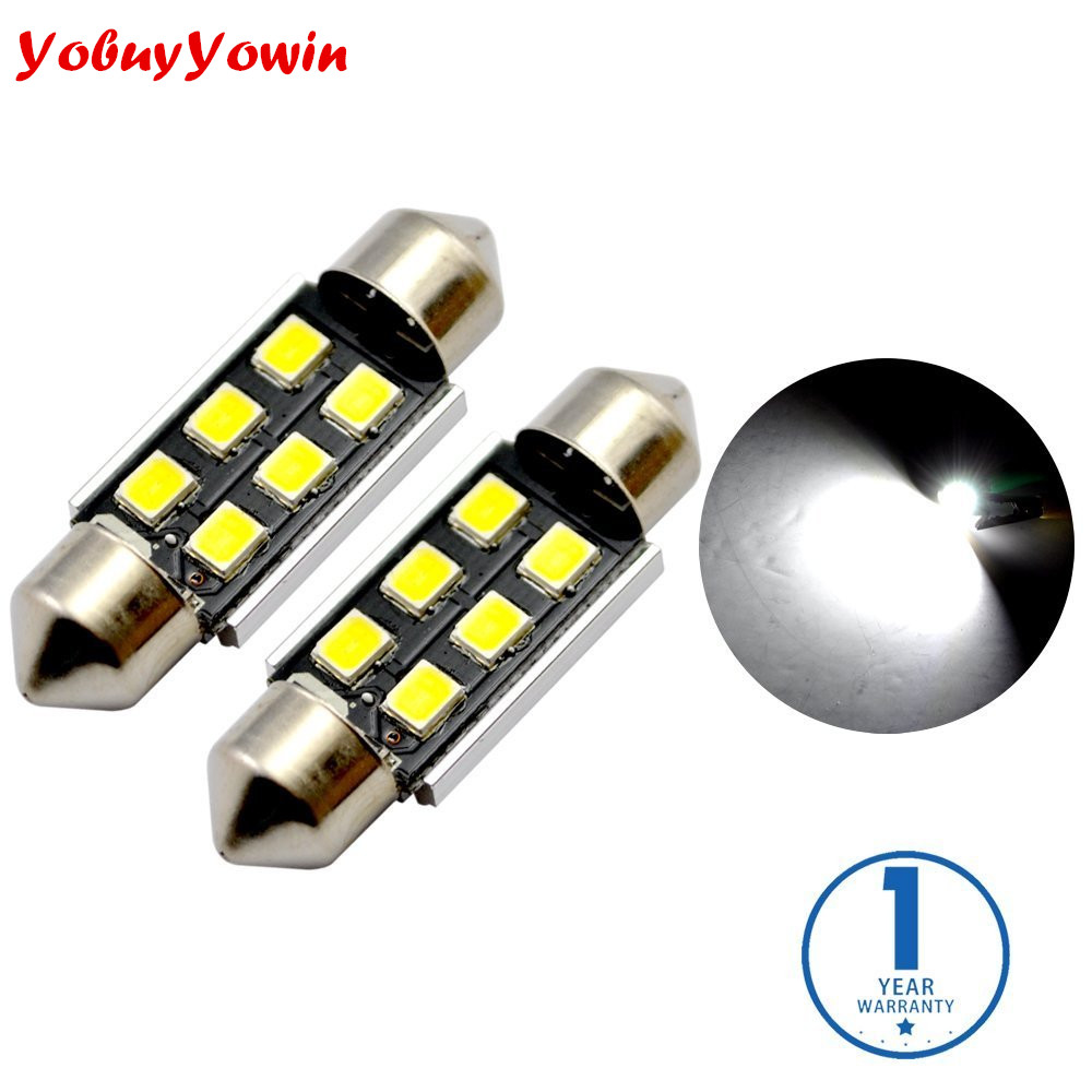 4*White Canbus Error Free LED Bulbs for Interior Car Lights License Plate Dome Map Marker Door Courtesy 36MM Festoon 6418 C5W