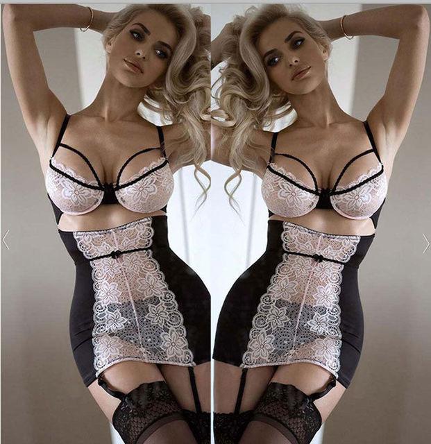 Sexy Lace Solid Lingerie Women G-string Hot Erotic Babydoll Sleepwear Robe Sexy Underwear Dress Sex Costumes XXXL Plus Size Porn 2