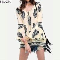 ZANZEA 2017 Womens Lace Up V Neck Shirt Oversized Boho Floral Print Flare Sleeve Casual Loose