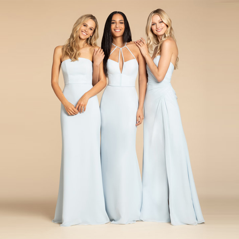 Verngo Light Blue Soft Stain Bridesmaid Dresses Backless Bridesmaid Dress Simple Elegant Halter Vestido Madrinha in Bridesmaid Dresses from Weddings Events