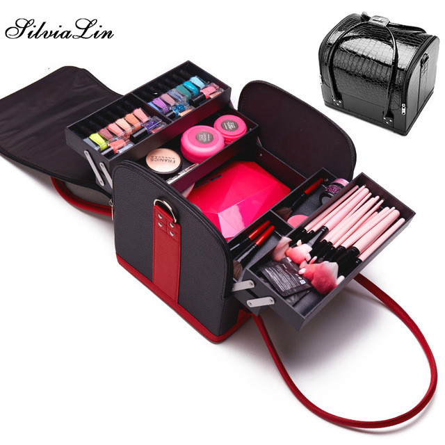 PU Leather Portable Cosmetic Bag For Cosmetics Large Capacity Women Travel Shoulder Makeup Bag Suitcase For