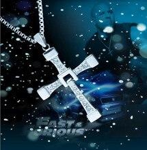 Clásico de Dominic Toretto Fast and furious 7 pelãcula collar colgante cruz de acero inoxidable 316L Top con colgante de cristal para los hombres