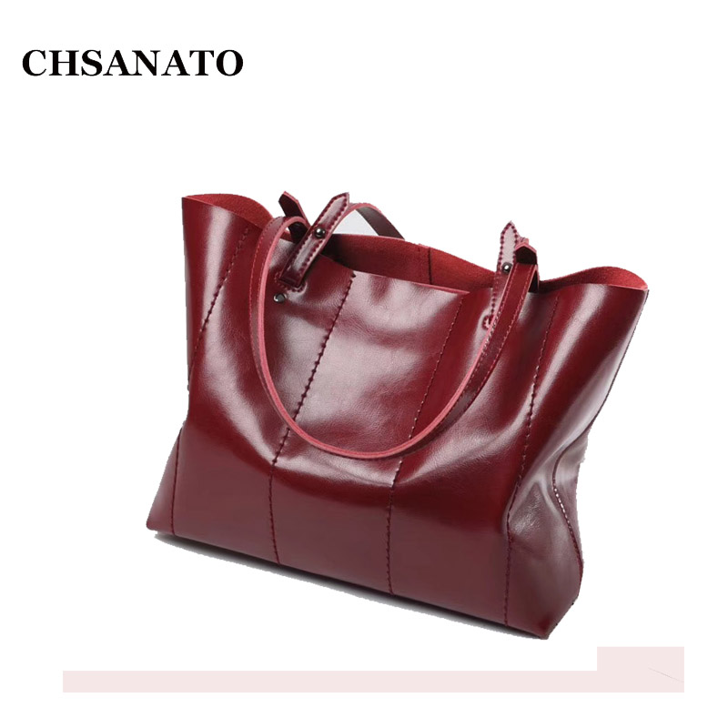CHSANATO Woman Handbags Genuine Leather Bag Female Hobos Shoulder Bags High Quality Oil Wax Real Cow Leather Tote Women Bag