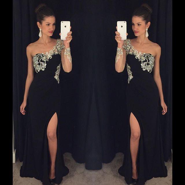Elegant-One-Shoulder-Long-Sleeve-Prom-Dress-2016-Black-Formal-Evening-Gowns-Custom-Made-Crystal-Party (1)