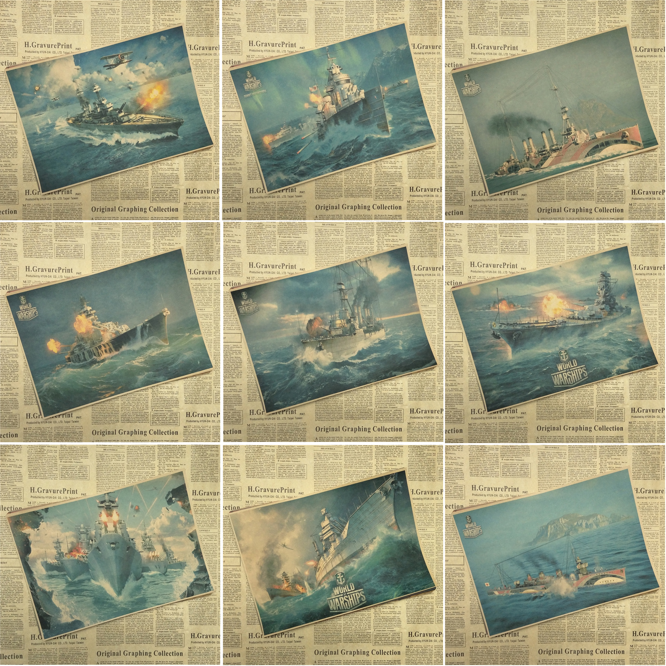 World of Warships DogFighter Shooting Game Poster Home Furnishing decoration Kraft Game Poster Drawing core Wall stickers