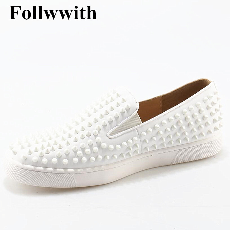 Follwwith Brand Top Quality White Soft Leather Rivets Studded Platform Men Casual Shoes Flats Slip On Shoes Mens Plus Size 37-47 blaibilton 2017 high top quality pu men shoes fashion personality letter platform mens shoes casual designer black blue sd6115