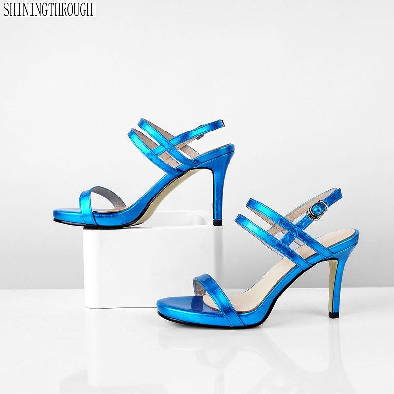 Véritable cuir chaussures à talons hauts femme sandales dames parti robe chaussures femme été noir bleu argent femmes chaussures