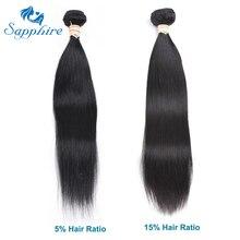 Сапфир прямо Реми Человеческие волосы пучки натуральный черный 1B # Парикмахерская длинные волосы РСТ 10%-15% бразильский Прямо Человеческие волосы
