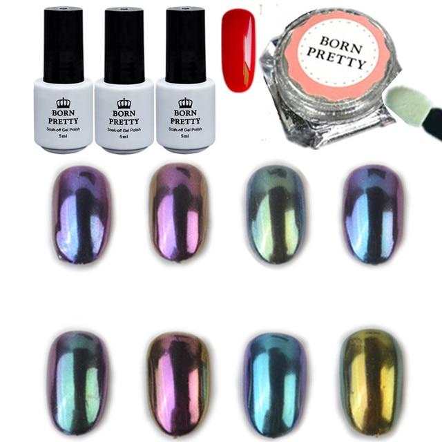 Born Pretty 12pcs Set Shinning Chameleon Mirror Glitter Powder Red Uv Gel Gorgeous Nail Art