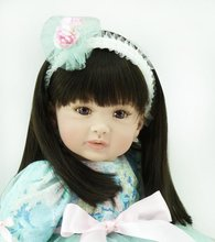 22 inch 55 cm Silicone baby reborn dolls, lifelike doll reborn babies toys Pretty Brown Eyed Girl