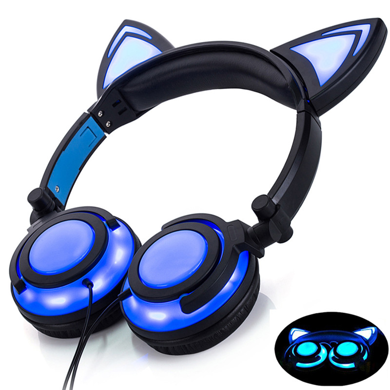 Image 3 - LIMSON Wired Stereo Cartoon Kids Earphone Foldable LED Flashing Cat Ear Cute Headphones for children-in Headphone/Headset from Consumer Electronics