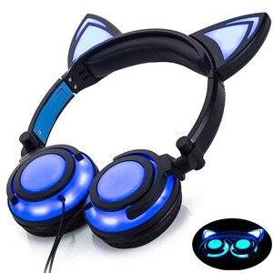 Image 3 - LIMSON Wired Stereo Del Fumetto Per Bambini Auricolare Pieghevole LED Lampeggiante Cat Ear Cuffie Carino per i bambini