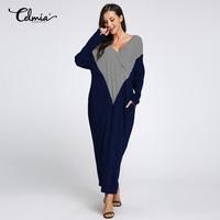 Celmia Dress Women Long Maxi Dress 2018 Spring Fall Casual Striped Loose Dress Long Sleeve Patchwork Plus Size S-5XL Vestidos