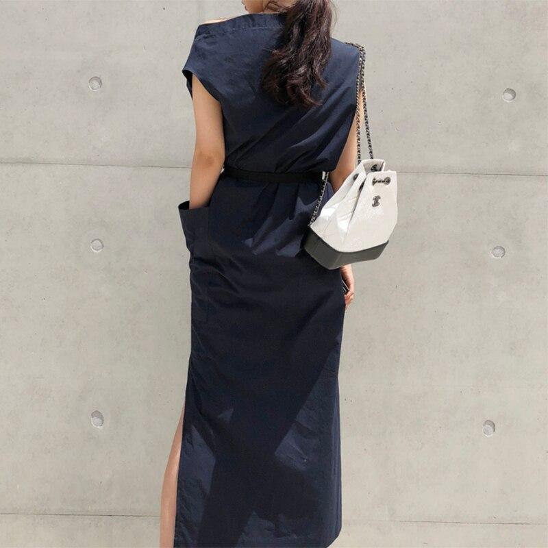 CHICEVER Summer Dresses For Women Sexy Slash Neck Hem Split Big Pocket Waist Lace Up Slim Dress Female Korean Fashion Tide New 5