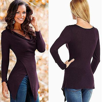 Women  2016 Autumn Tops Tees Irregular Wine Red T-shirts  Long Sleeve V- Neck  Slim Tops  S