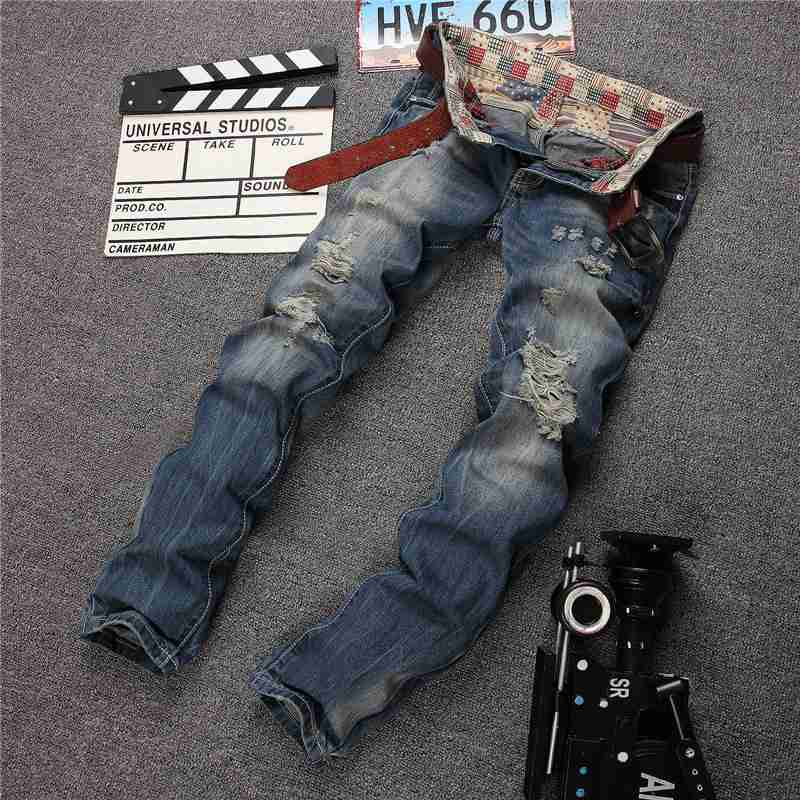 1509 2017 Ripped Straight jeans Fashion Men biker jeans Slim fit High street Distressed jeans