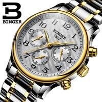 Suíça binger relógios mecânicos dos homens marca superior luxo seis agulhas de aço inoxidável três pequenos mostradores relógio automático masculino