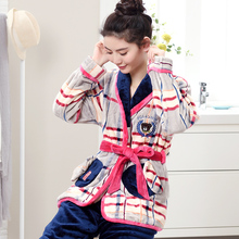 Autumn And Winter Coral Fleece Sleepwear Women Long-sleeve Thickening Flannel Lounge Robe Set Night Wear