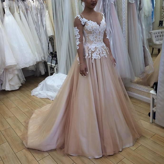 SuperKimJo Champagne   Prom     Dresses   2020 Lace Applique Long Sleeve Elegant   Prom   Gown Vestido De Festa Longo