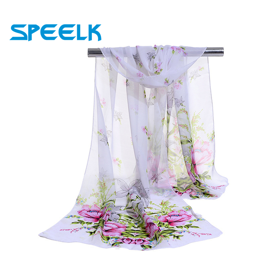 New Korean Design Flower Chiffon Scarves Women Silk Shawl Female Spring Autumn Five-pointed Star Scarf And Wraps Wholesale