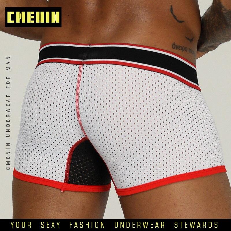 CMENIN Sexy Men Underwear Boxer Men Underpants Mesh Boxershorts Men Cotton Gay Mens Boxers Shorts Male Panties Long Boxer OR201