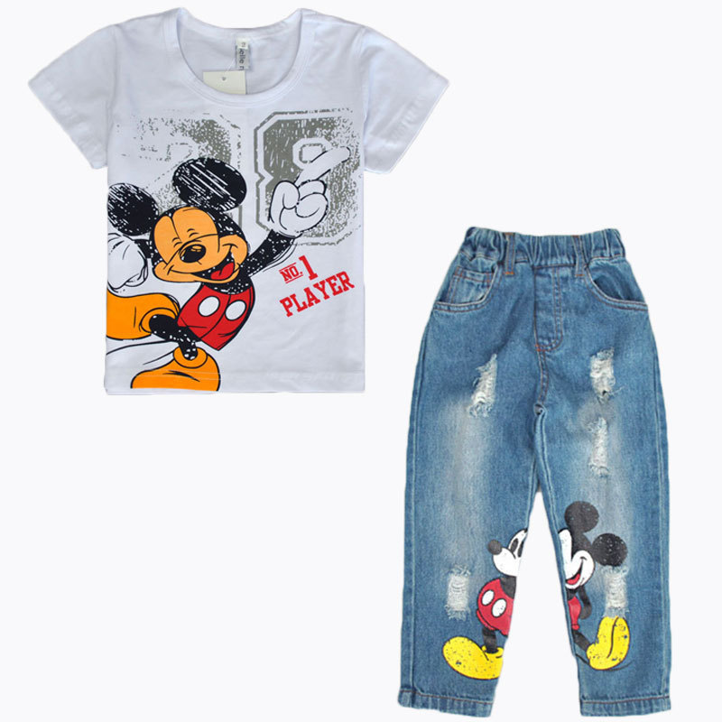Retail 2017 Fashion Summer Toddler Boy Clothes Cartoon Mickey Pullover Short Sleeve T-shirt+Jeans Pants Minnie Clothing Set