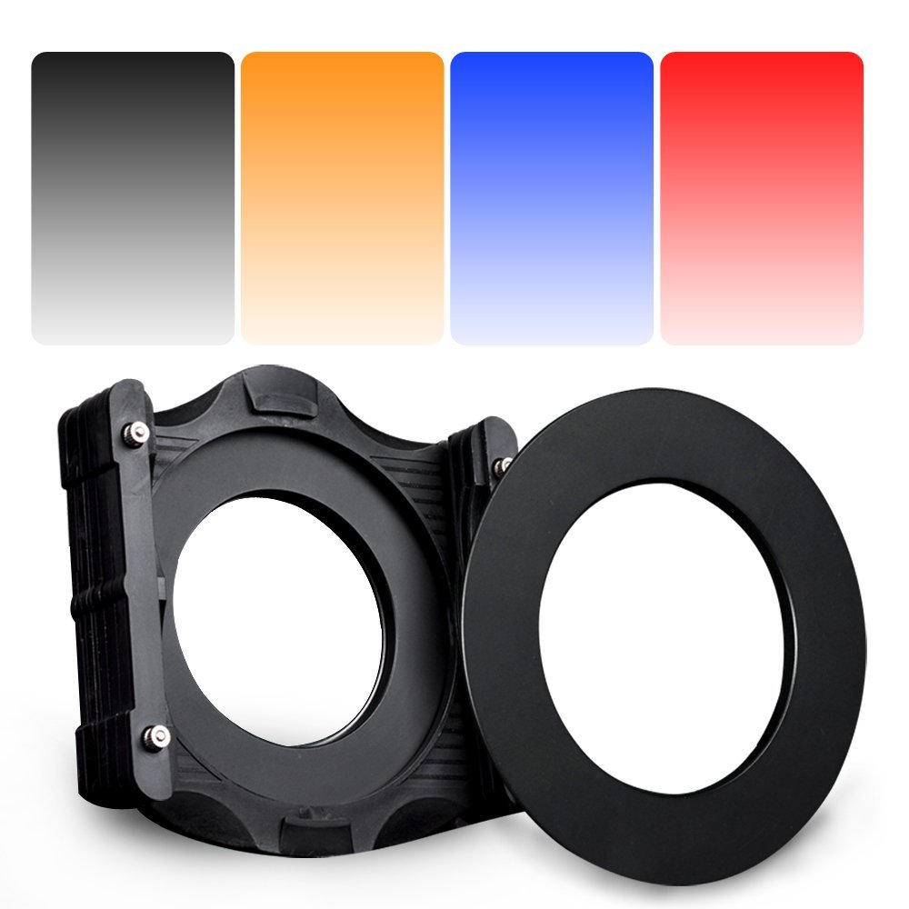 Zomei 6 in1 Square Z-PRO Series Filter Holder Support + Adapter Ring +Gradual grey +Gradual RED+Gradual blue+Gradual Orange