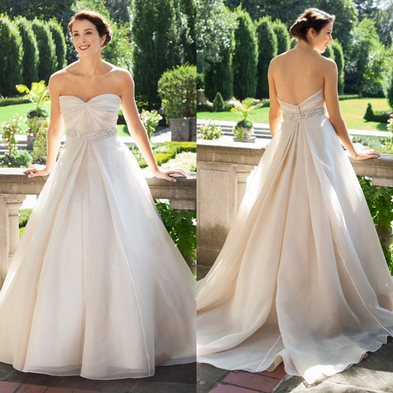 Organza Wedding Gowns: Charming Sparkle A Line Sweetheart Court Train Organza
