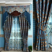 Custom Made Luxury Villa Club Curtain For Living Room Tulle Window Curtains Blue Hanging Beads Curtains