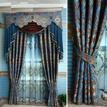 Custom Made Luxury Villa Club Curtain for Living Room Tulle Window Curtains Blue Hanging beads Curtains Jacquard process curtain