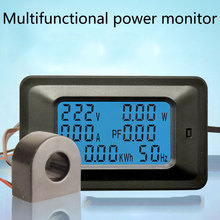 LCD Digital AC 20A 100A Voltage Energy Meter Voltmeter Ammeter Power Current Panel Watt Combo Indicator 110V 220V 4 in 1 ac voltage meters 100a 80 260v power energy analog voltmeter ammeter watt current amps volt meter lcd panel monitor