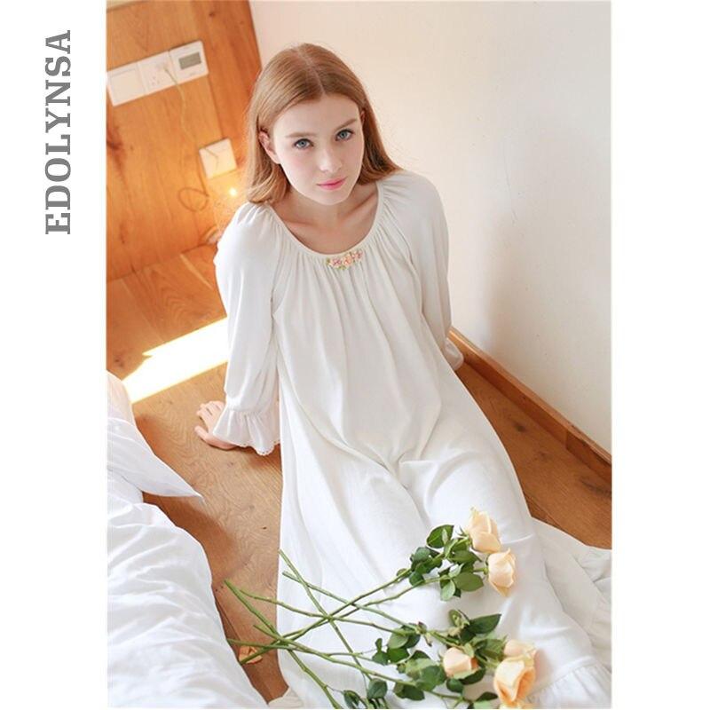Brief Nightgown Flower Appliques Flare Sleeve Long White Cotton Sleep Dress Women Casual Sleep Lounge Plus