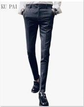 2017 autumn and winter nightclub hair stylist stripes male British trousers informal Korean model of Slim pattern skinny ft pants