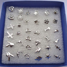 Hot 24 pairs Fashion Jewelry Wholesale Mixed Silver Plated Ear Stud Earrings Plastic Charms Gift Wholesale