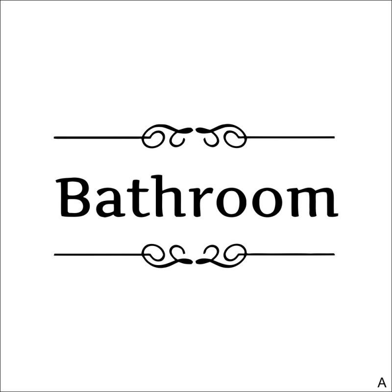 Туалет Ванная комната знак Стикеры стены Бумага Семья Туалет Ванная комната стены Стикеры Стандартный английский Предупреждение двери Сти...