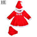 HE Hello Enjoy girls clothes 2016 Autumn Winter Christmas baby girl outfit Santa Claus red clothes +hat +pants baby clothes girl