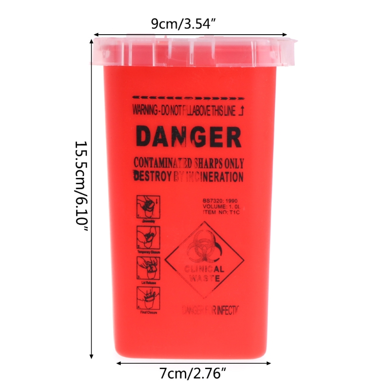 Image 5 - 1pc 1L Tattoo Medical Red Plastic Sharps Containers for Tattoo Artists Newest Tattoo Sharps Container Needle Disposal Tools-in Tattoo accesories from Beauty & Health